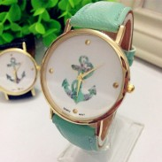 Fresh Floral Anchor Pattern Metal PU Watch