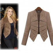 Pure Color Layers Long Sleeve Suede Jacket Suit Coat