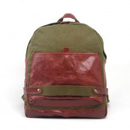 Leisure Canvas Leather Hit Color Travel Laptop Backpack Computer Bag