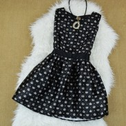 Crown Pattern Princess Sleeveless Dress