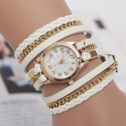 Fashion Metal Chain Leather Braided Three Laps Bracelet Watch