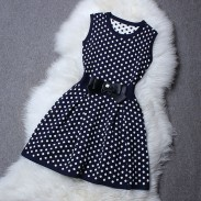 Round Collar Sleeveless Wave Point Knitted Dress