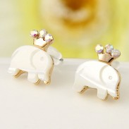 Lovely Crown Elephant Swan Animal Stud Earrings