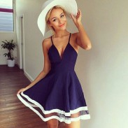 Graceful Deep V Perspective Hem Navy Blue Halter Dresses