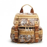 Original Tiger Printing Leather Rucksack Oxford Schoolbag Travel Backpack