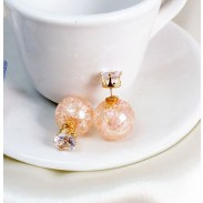 Personality Transparent Glass Crackle Beads Crystal Ball Earrings stud
