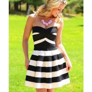 Sweet Striped Pattern Wrapped Dresses