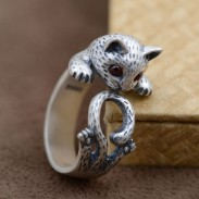 Lovely Cat Animal Pure Silver Ring