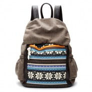 Folk Snowflake Stripe Pattern School Bag Mixed Colors Clamshell Travel Backpack