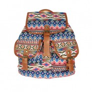 Retro Geometry Diamond Star Stripe Pattern Drawstring Hasp Rucksack Backpack
