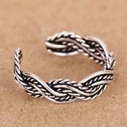 925 Sterling Silver Hand Woven Braid Opening Ring