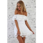 High Fashion Sweet Hollow Off Shoulder Lace Party Dress