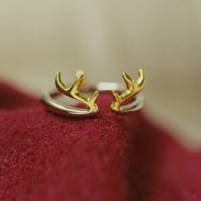 Personalized Gift Antler 925 Sterling Silver Opening Ring