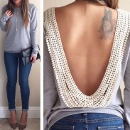 Sexy Backless Long Sleeve Lace T-shirt Tops