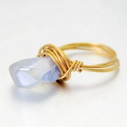 Ocean Blue Asymmetrical Natural Crystal Brass Hand Winding Rings