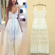 Classice Style Sexy Lace Floral Backless Dress
