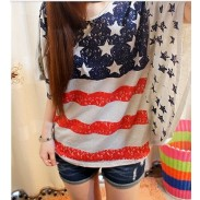 Retro USA Flag Bat Sleeve Shirt & Loose Leisure Tops