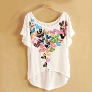 Retro Flower Printed Bat Short Sleeve T-shirt