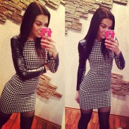 Classic Style Houndstooth Long-sleeved Slim Dress