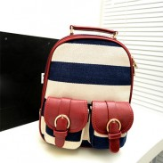 Retro Navy Stripe Print Little Backpack&Ipad Bag