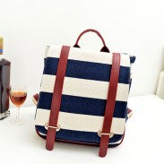 Retro Navy Stripe Canvas Backpack&School Bag