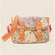 Retro Columbus Map Leather printing Shoulder Bag&Messenger Bag