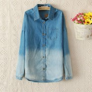 Fashion Blue Gradient Denim Shirt