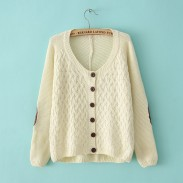 Retro Leather Stitching Elbow Patches Irregular knit &Cardigan
