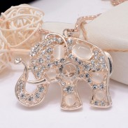 Retro Hollow Out Lovely Animal Elephant Opal Necklace