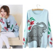 Fashion Lovely Elephant  Printed Embroidered Sweater&Cardigan