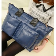 Fashion Navy Blue Leather Down Handbag&Shoulder Bag