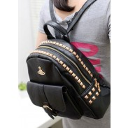 Retro Crown Rivets PU Leather Backpack&Schoolbag