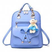 Casual Multifunction Bow-knot Shoulder Bag College Rucksack Pu Bow School Backpack