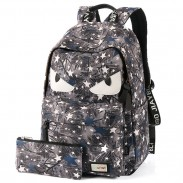 Leisure Star Printing Little Monster Rucksack School Bag Graffiti Canvas Backpacks