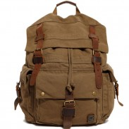 Retro Large Hiking Outdoor Rucksack Thick Canvas Schoolbag  Men's Backpack
