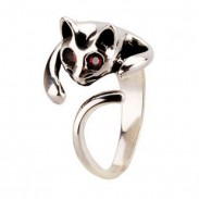 Lovely 3D Cat  Silver  Animal Ring