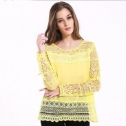 Fashion Women Sexy Skirt Long Sleeve Loose Slim Lace Hollow Splice Tops