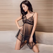 Sexy Emotional Perspective Pajamas Nightdress Lace Mesh T Large Size Sling Women Lingerie