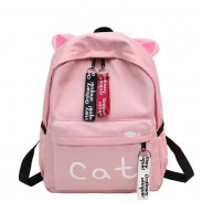 Fresh Cat Letter Pure Color Student Bag Large Kitten Ear Decor Canvas School Backpack