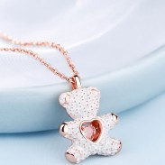 Cute Teddy Bear Pendant Silver Necklace Heart Jewelry Pink Diamond Lover Gift Women Necklace