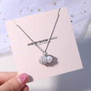 Cute Shell Girl's Necklace Shell Pearl Silver Necklace