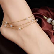 Cute Multi-layer Copper Bead Chain Pearl Women's Anklet