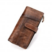 Retro Original Handmade Purse Long Stitching Real Leather Wallet Clutch Bag