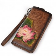 Retro Lotus Flower Embossed Wallet Original Handmade Phone Purse Clutch Bag
