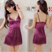 Sexy Elegant Purple Lace Bow Nightgown