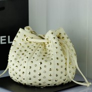 Fashion Diamond Rivets Bucket Leather Bag