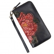 Retro 3D Large Embossed Flower Long Wallet Vintage Phone Purse Peony Clutch Bag