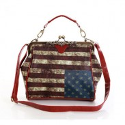 Retro American Flag Carved Shoulder Bag