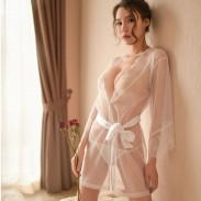Sexy Lace Pajamas Loose Mesh Robe Bandage Nightdress Lady Intimate Lingerie