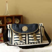 Navy College Striped Canvas Shoulder Bag Messenger Bag